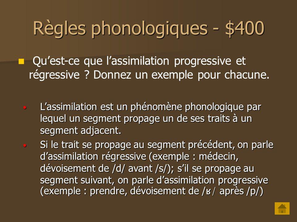 Règles phonologiques - $400