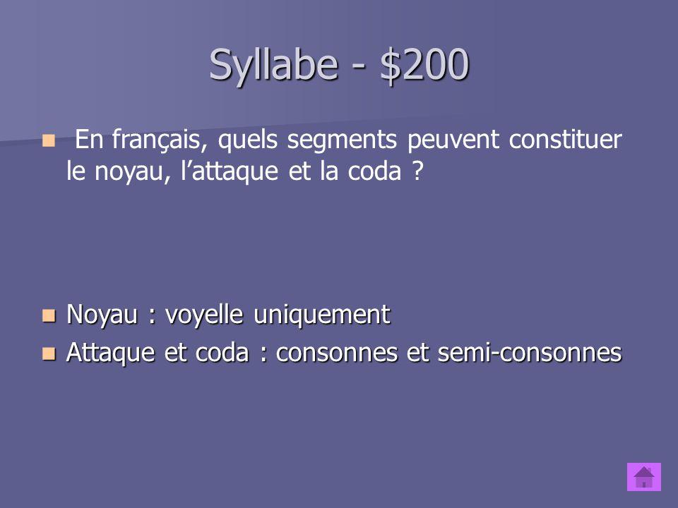 Syllabe - $200 En français, quels segments peuvent constituer le noyau, l'attaque et la coda Noyau : voyelle uniquement.