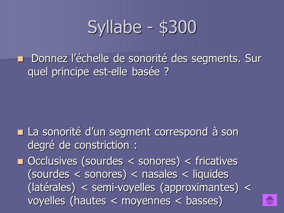 Syllabe - $300 Donnez l'échelle de sonorité des segments. Sur quel principe est-elle basée