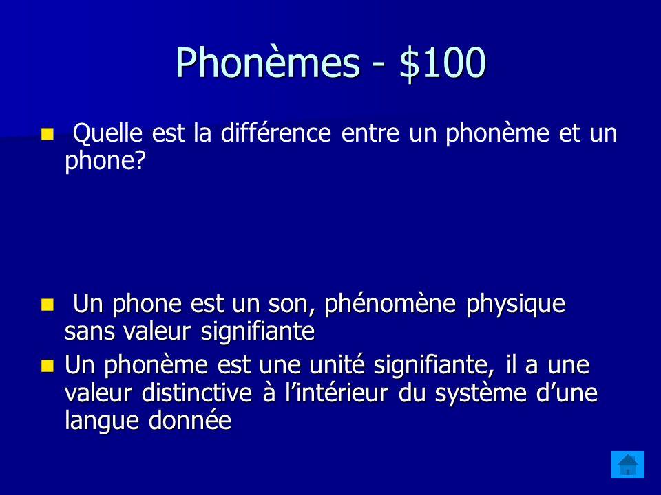 Phonèmes - $100 Quelle est la différence entre un phonème et un phone