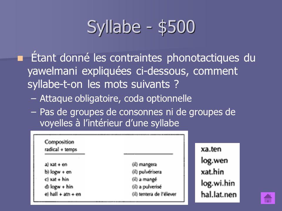 Syllabe - $500 Étant donné les contraintes phonotactiques du yawelmani expliquées ci-dessous, comment syllabe-t-on les mots suivants