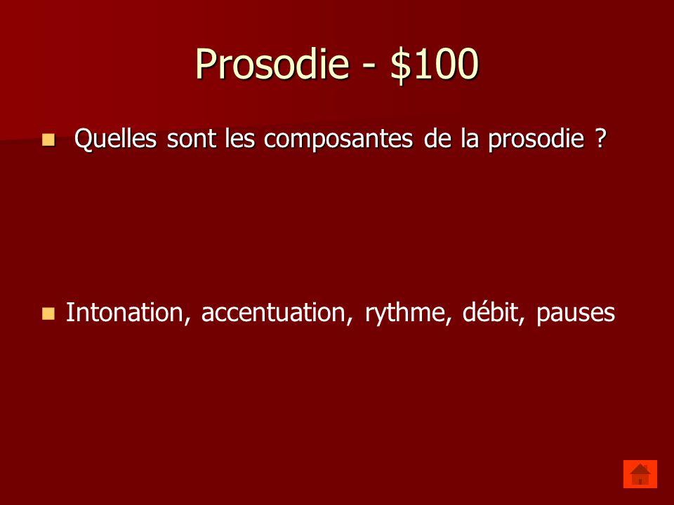 Prosodie - $100 Quelles sont les composantes de la prosodie