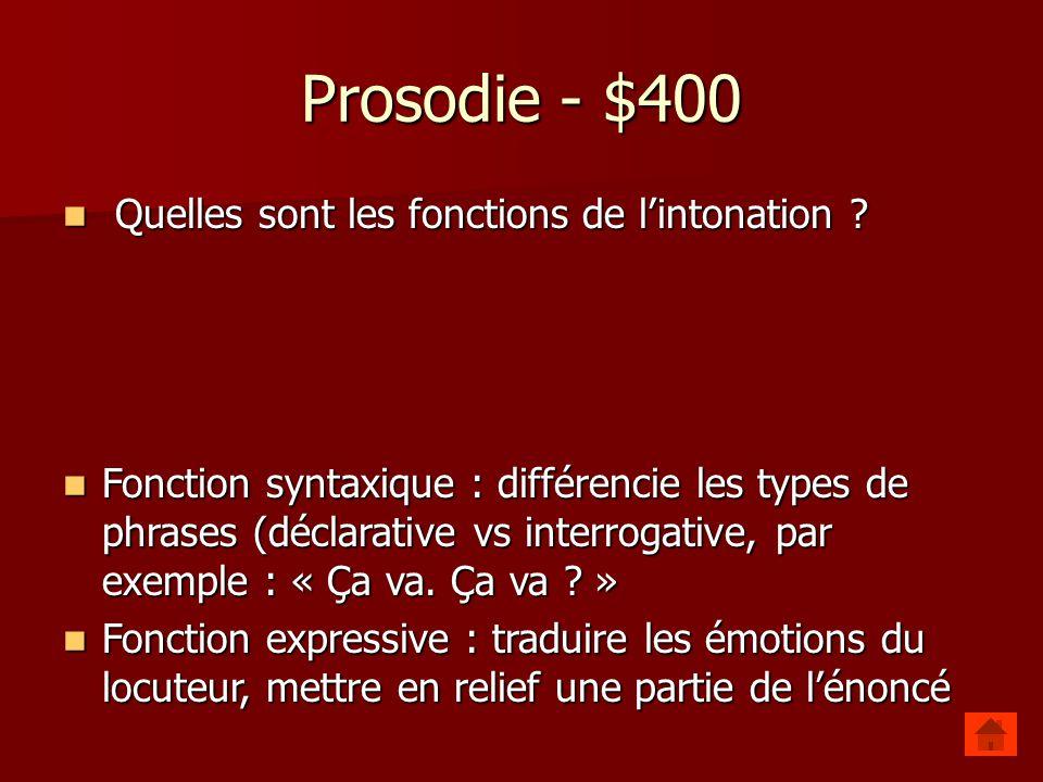 Prosodie - $400 Quelles sont les fonctions de l'intonation