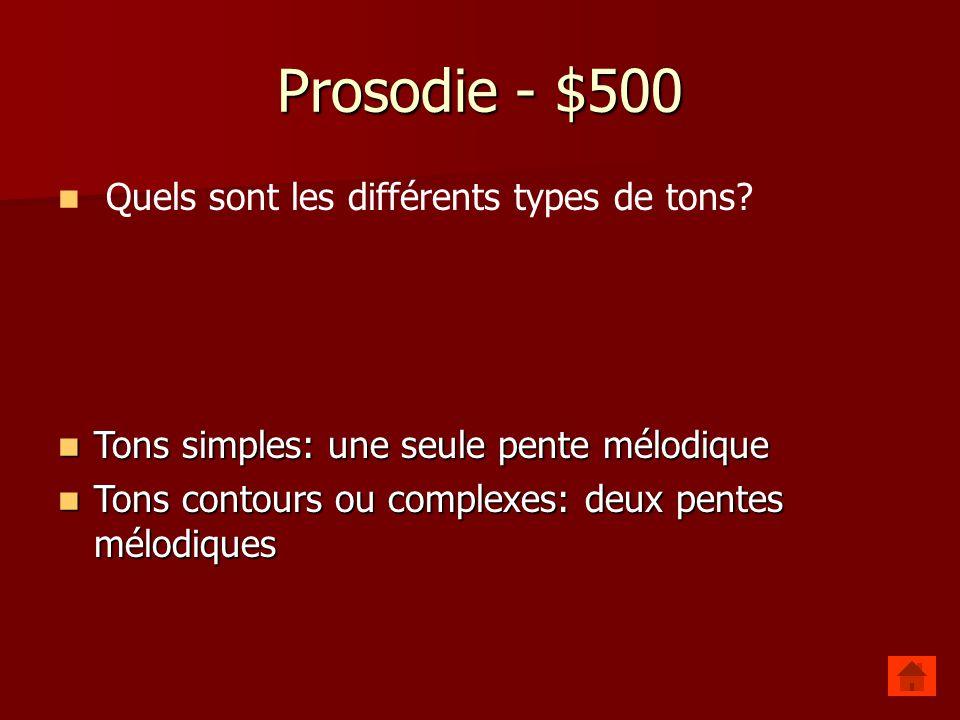 Prosodie - $500 Quels sont les différents types de tons