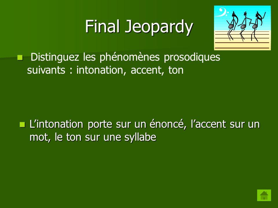 Final Jeopardy Distinguez les phénomènes prosodiques suivants : intonation, accent, ton.