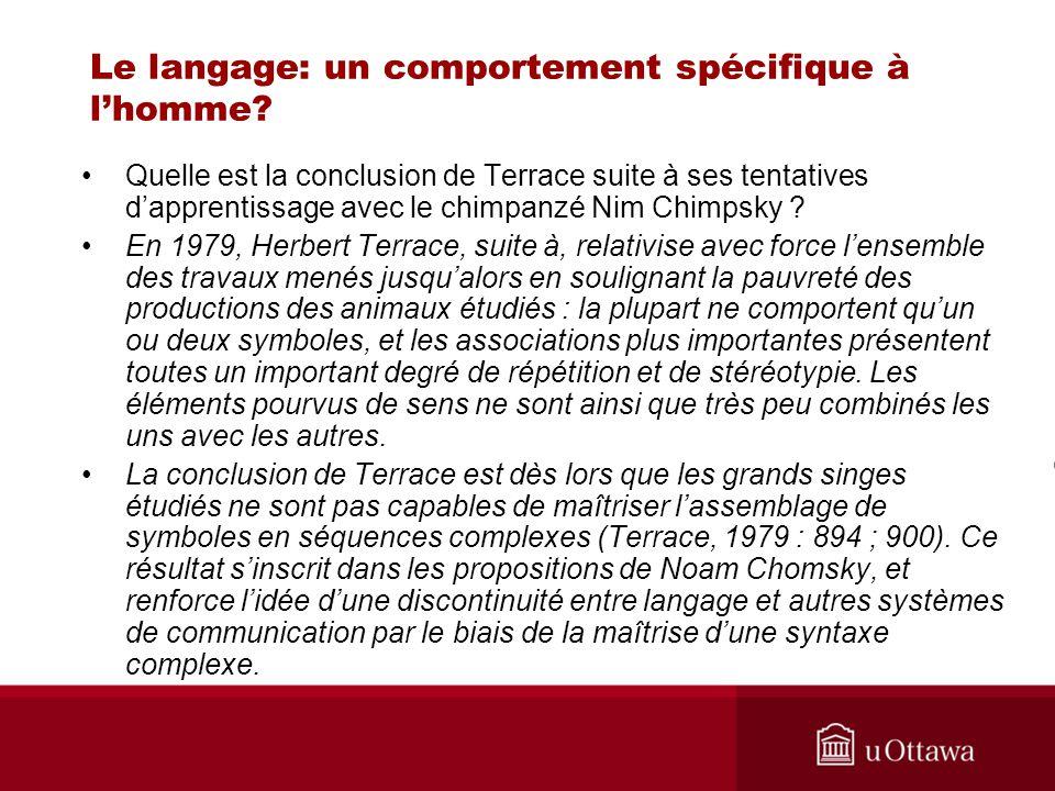 Le langage: un comportement spécifique à l'homme