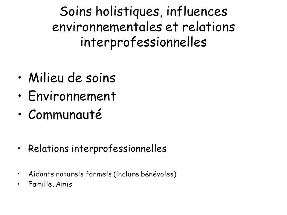Soins holistiques, influences environnementales et relations interprofessionnelles