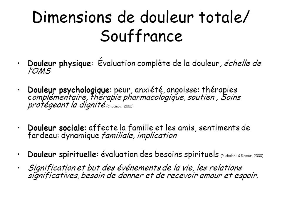 Dimensions de douleur totale/ Souffrance