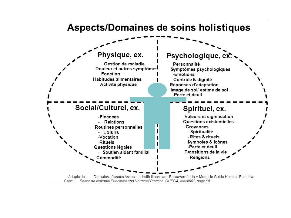 Aspects/Domaines de soins holistiques
