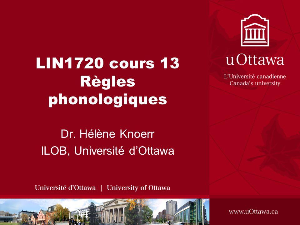 LIN1720 cours 13 Règles phonologiques
