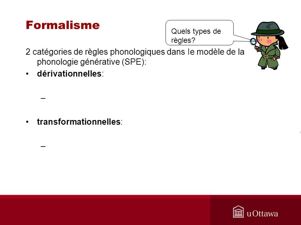 Formalisme Quels types de règles 2 catégories de règles phonologiques dans Ie modèle de la phonologie générative (SPE):