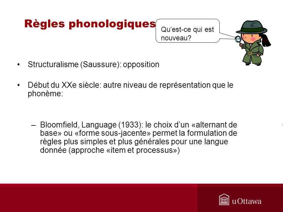 Règles phonologiques Structuralisme (Saussure): opposition
