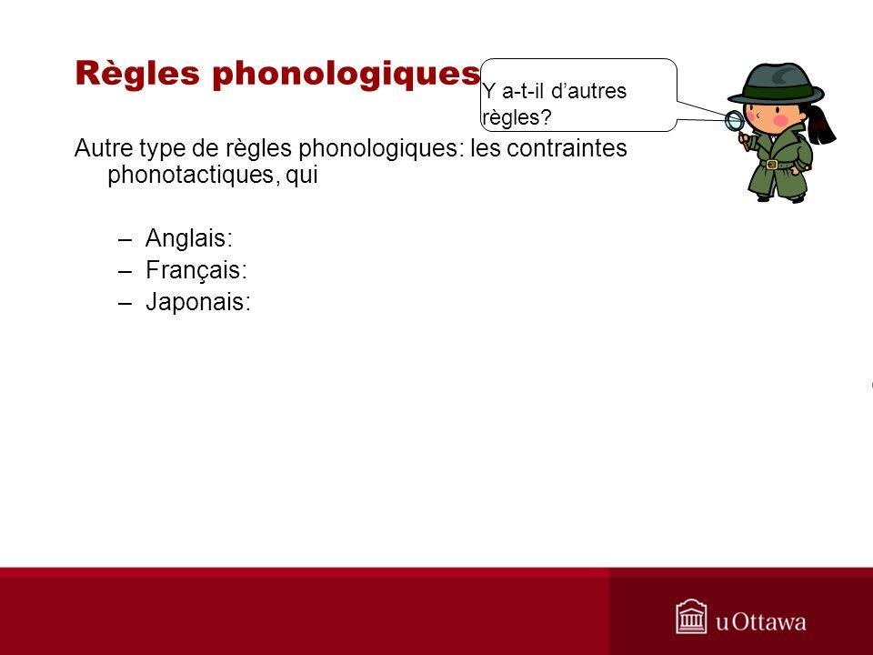 Règles phonologiques Y a-t-il d'autres règles Autre type de règles phonologiques: les contraintes phonotactiques, qui.