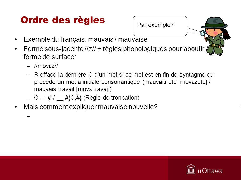 Ordre des règles Exemple du français: mauvais / mauvaise