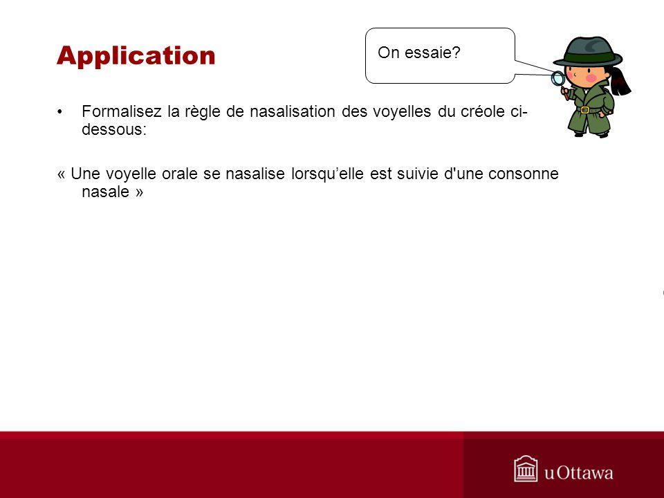 Application On essaie Formalisez la règle de nasalisation des voyelles du créole ci-dessous: