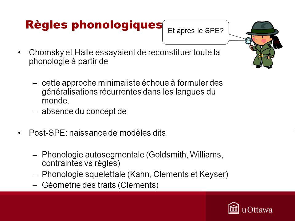 Règles phonologiques Et après le SPE Chomsky et Halle essayaient de reconstituer toute la phonologie à partir de.