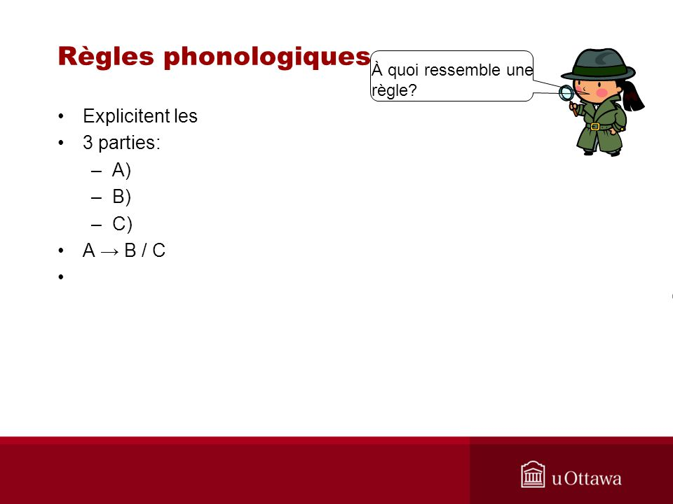 Règles phonologiques Explicitent les 3 parties: A) B) C) A → B / C