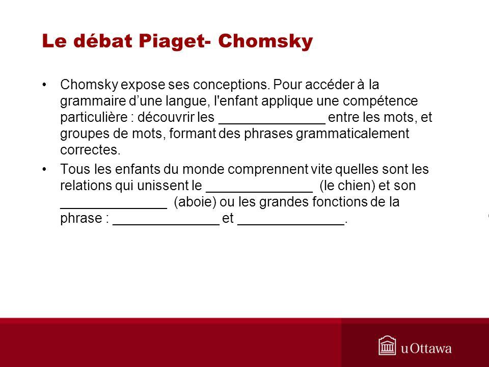 Le débat Piaget- Chomsky