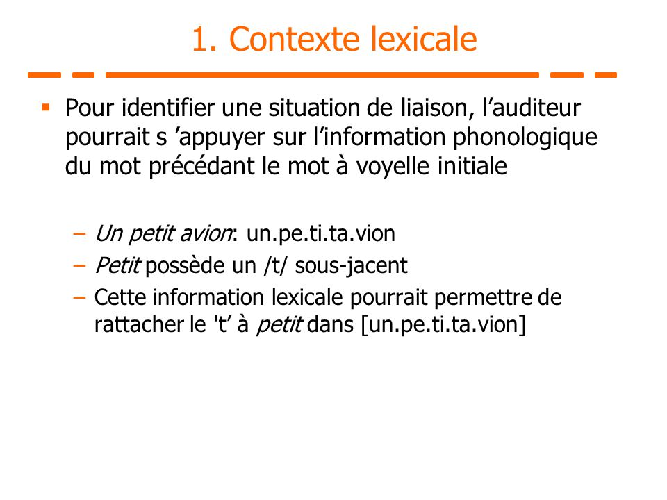 1. Contexte lexicale