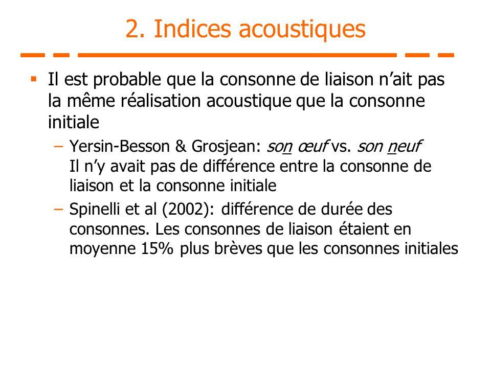 2. Indices acoustiques Il est probable que la consonne de liaison n'ait pas la même réalisation acoustique que la consonne initiale.