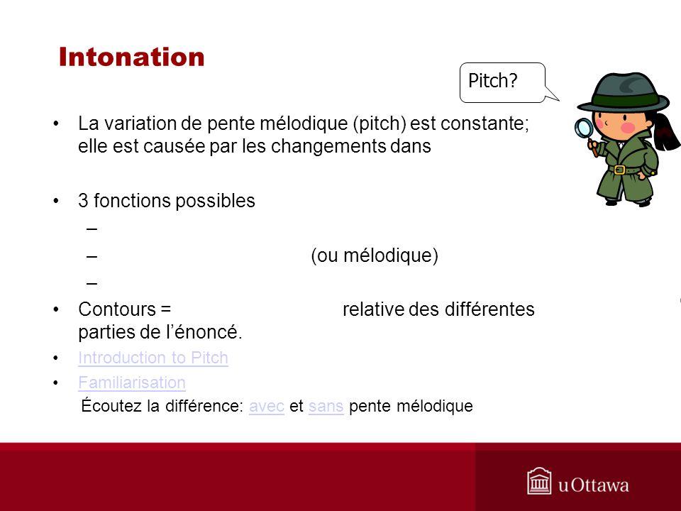 Intonation Pitch La variation de pente mélodique (pitch) est constante; elle est causée par les changements dans.