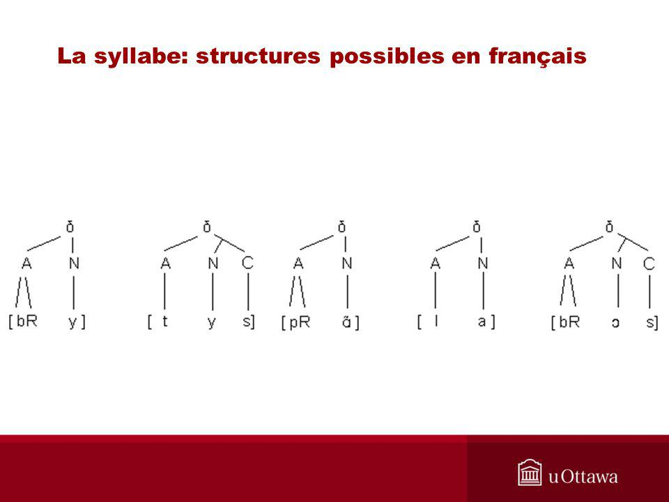 La syllabe: structures possibles en français