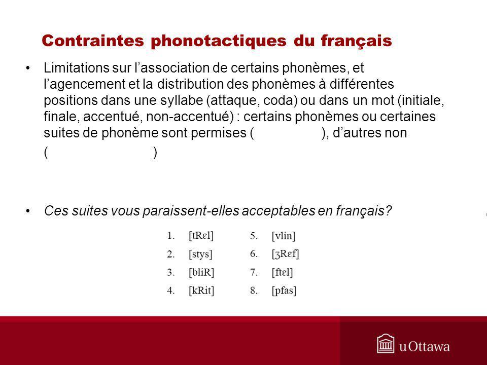 Contraintes phonotactiques du français
