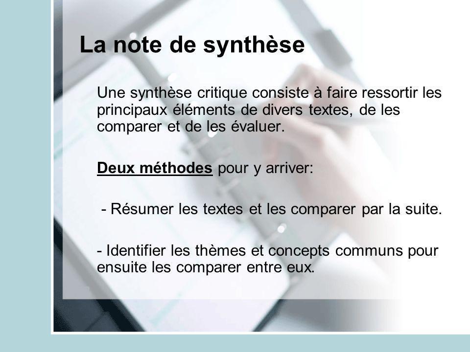 La note de synthèse Une synthèse critique consiste à faire ressortir les principaux éléments de divers textes, de les comparer et de les évaluer.