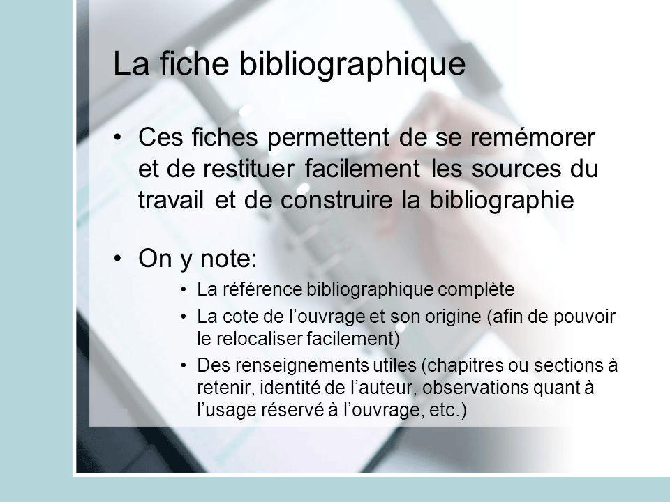 La fiche bibliographique