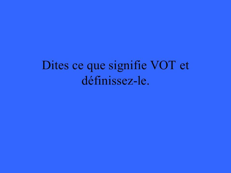 Dites ce que signifie VOT et définissez-le.