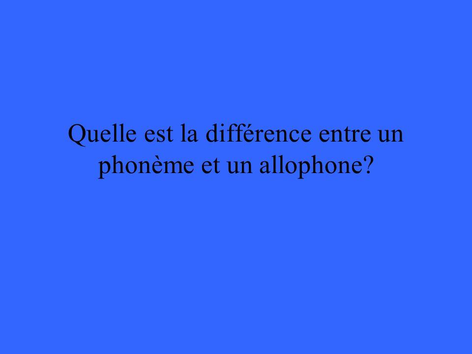Quelle est la différence entre un phonème et un allophone