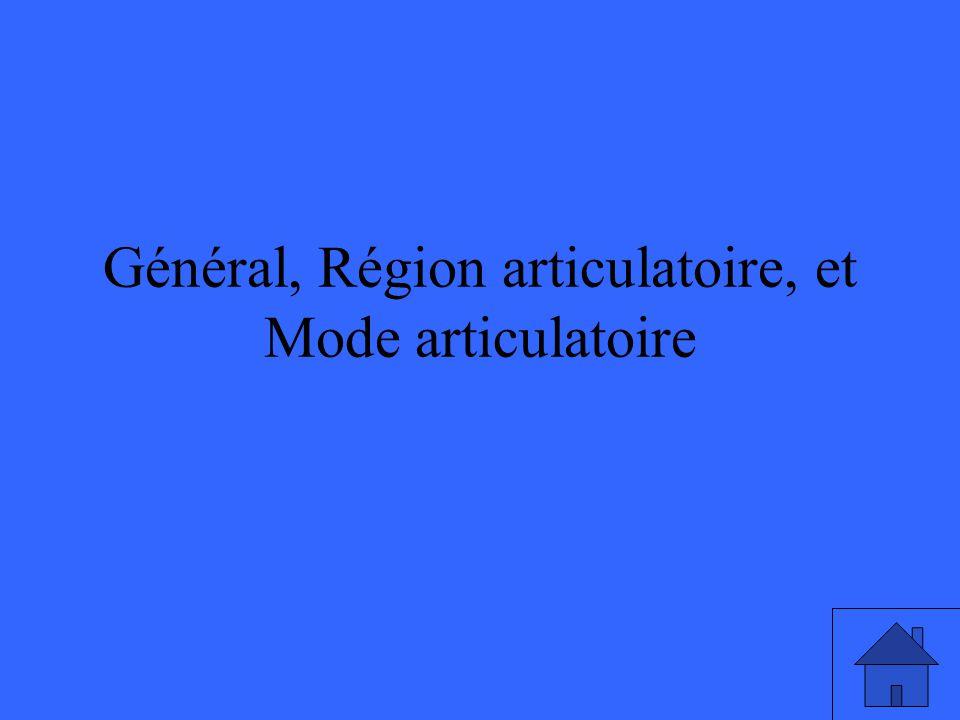 Général, Région articulatoire, et Mode articulatoire