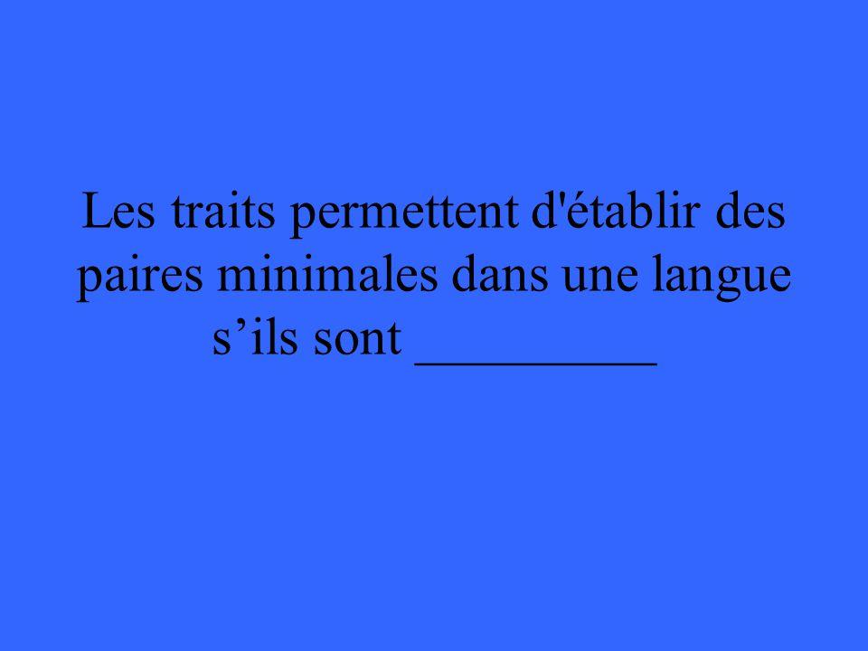 Les traits permettent d établir des paires minimales dans une langue s'ils sont _________