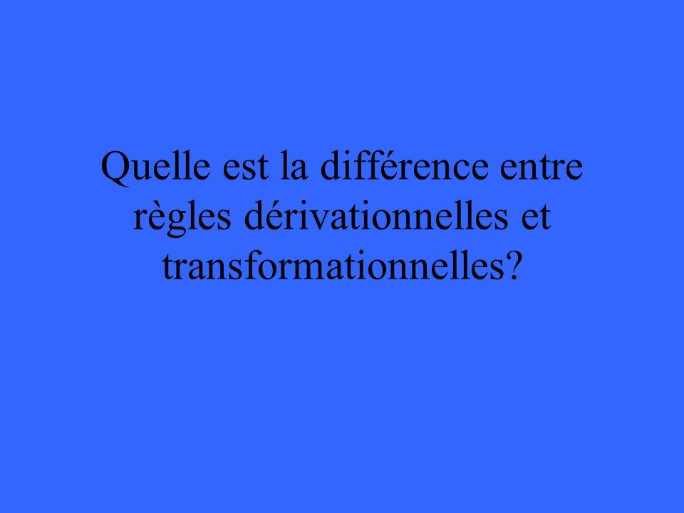 Quelle est la différence entre règles dérivationnelles et transformationnelles