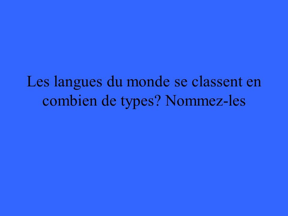 Les langues du monde se classent en combien de types Nommez-les
