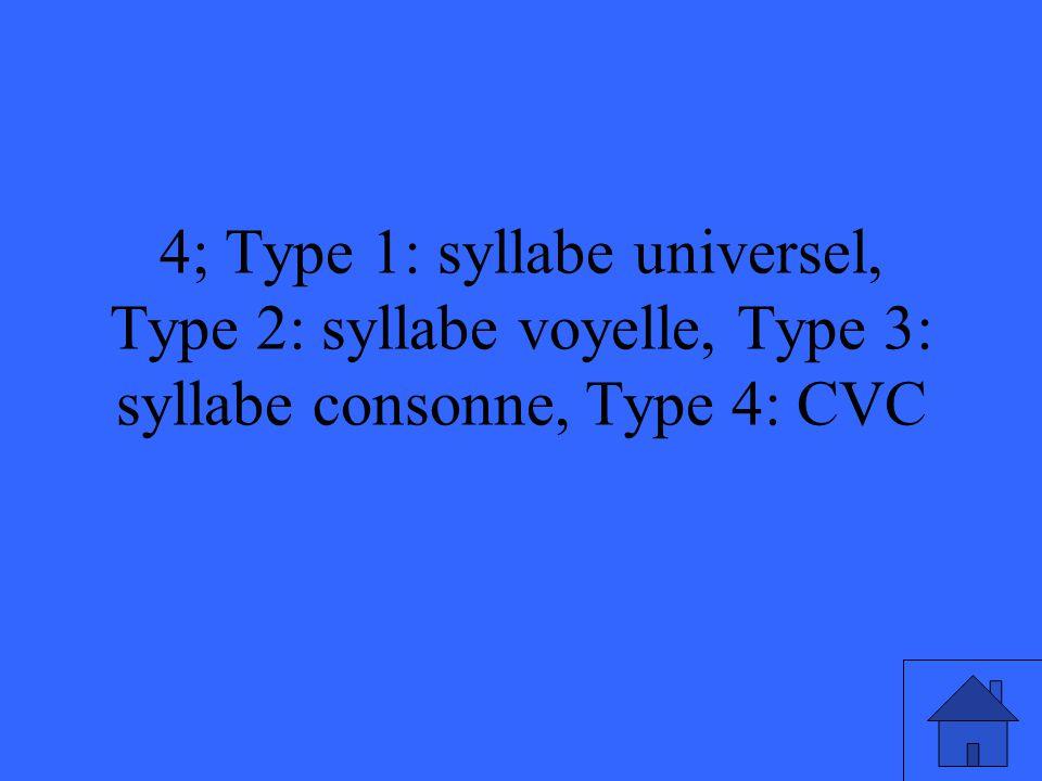 4; Type 1: syllabe universel, Type 2: syllabe voyelle, Type 3: syllabe consonne, Type 4: CVC