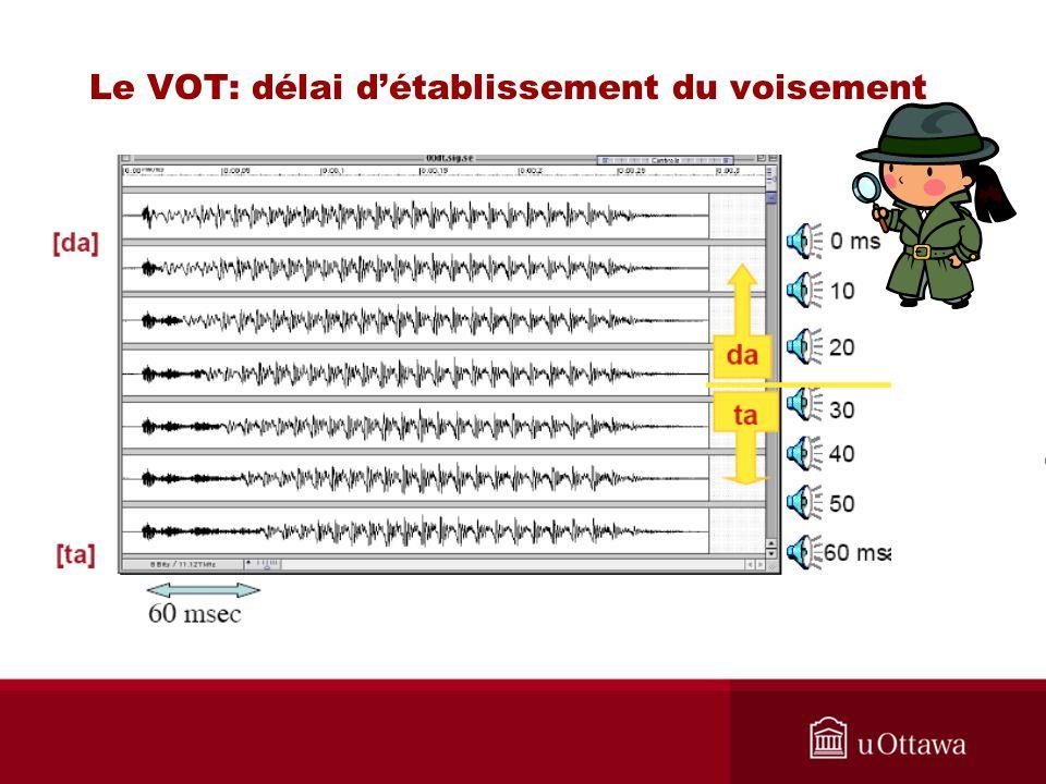 Le VOT: délai d'établissement du voisement