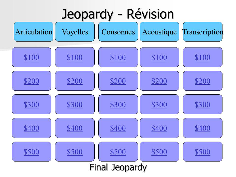 Jeopardy - Révision Final Jeopardy Articulation Voyelles Consonnes