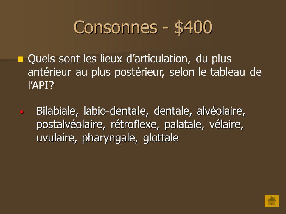 Consonnes - $400 Quels sont les lieux d'articulation, du plus antérieur au plus postérieur, selon le tableau de l'API