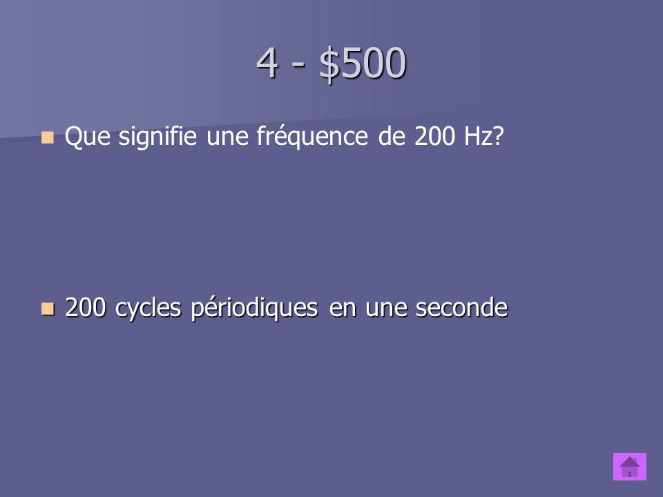 4 - $500 Que signifie une fréquence de 200 Hz