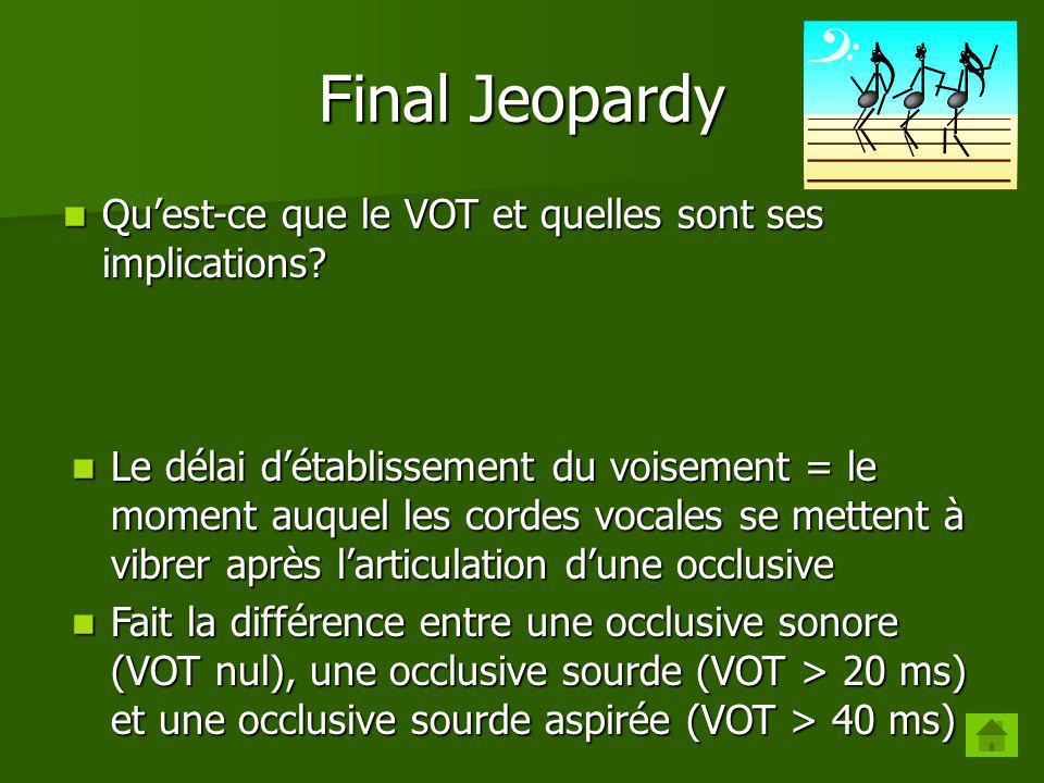 Final Jeopardy Qu'est-ce que le VOT et quelles sont ses implications