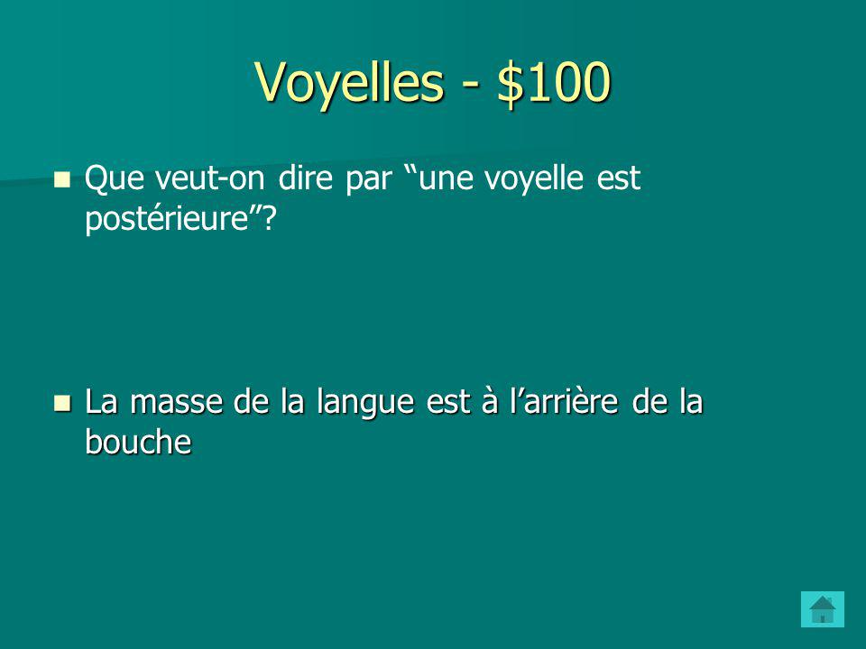 Voyelles - $100 Que veut-on dire par une voyelle est postérieure