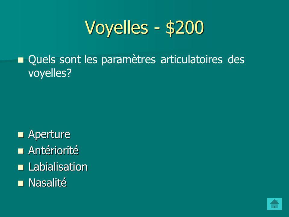 Voyelles - $200 Quels sont les paramètres articulatoires des voyelles