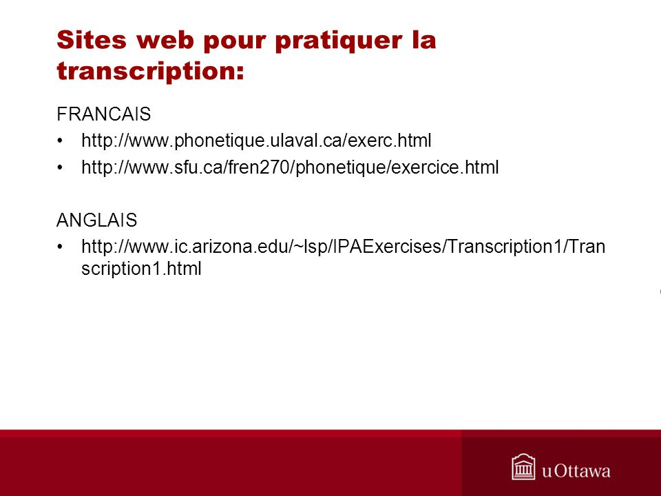 Sites web pour pratiquer la transcription: