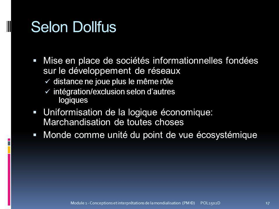 Selon Dollfus Mise en place de sociétés informationnelles fondées sur le développement de réseaux.