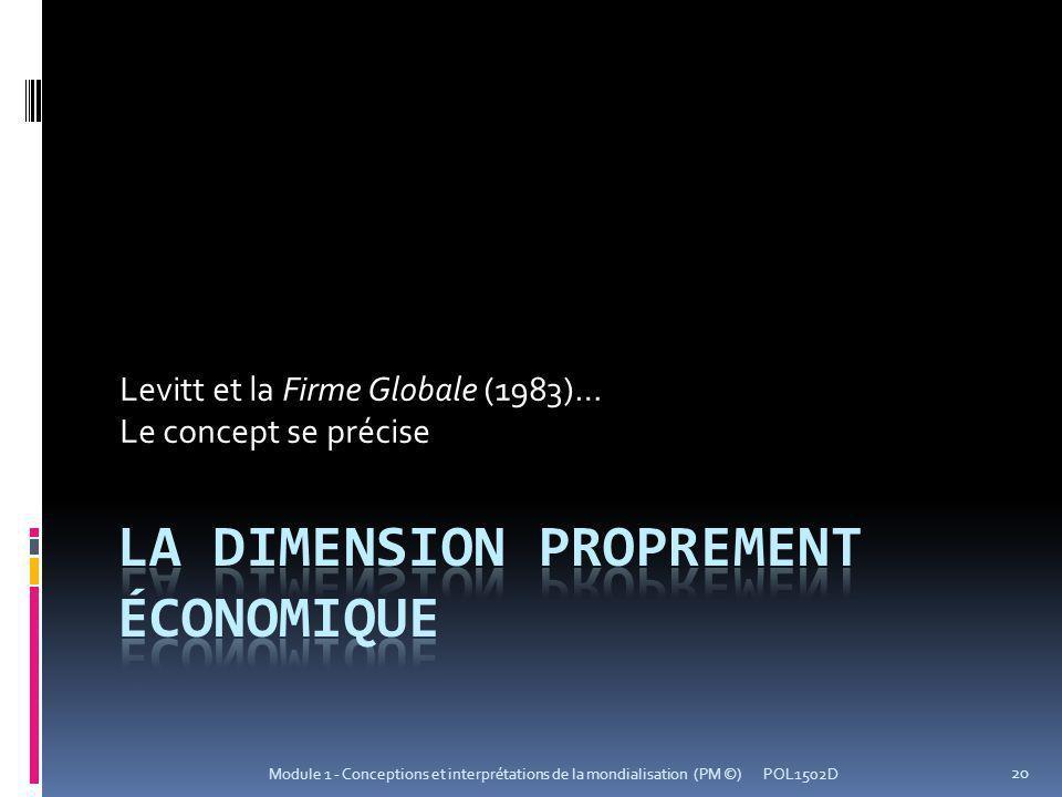 La dimension proprement économique