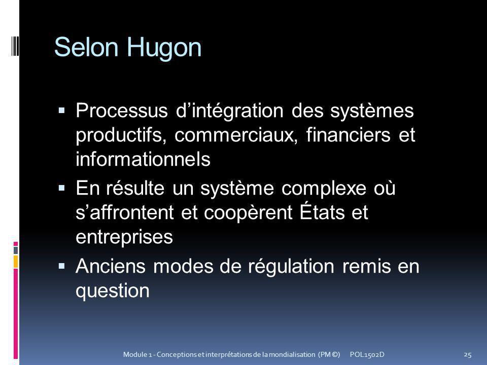 Selon Hugon Processus d'intégration des systèmes productifs, commerciaux, financiers et informationnels.
