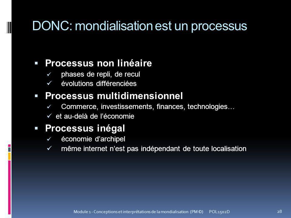 DONC: mondialisation est un processus