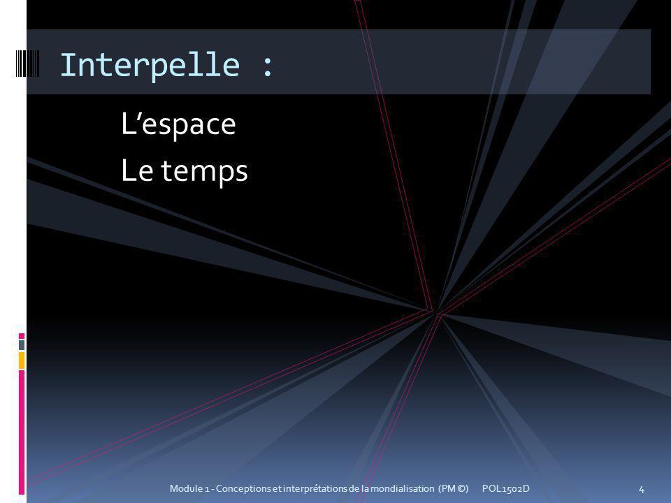 Interpelle : L'espace Le temps