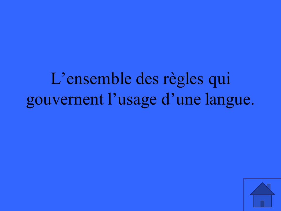 L'ensemble des règles qui gouvernent l'usage d'une langue.